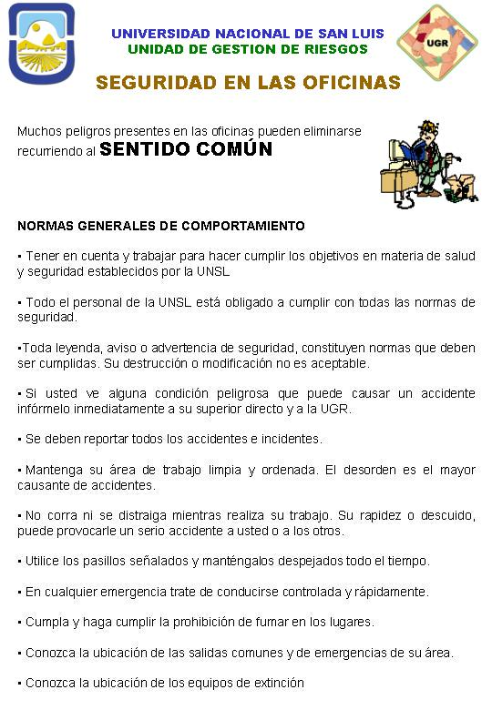 Prevencion seguridad y salud laboral universidad for Oficina nacional de seguridad